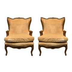 Pair of 19th Century Large French Upholstered Bergere Oreilles Polychrome Finish