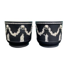 Pair of 19th Century Large Wedgwood Black Basalt Jasperware Cachepots