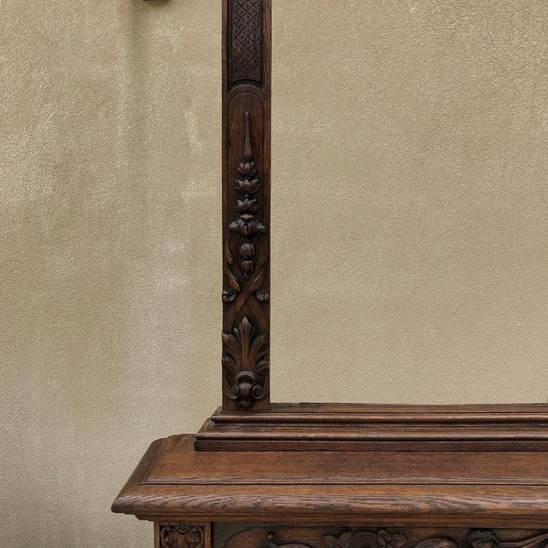 Hand-Carved Pair of 19th Century Library, Bookcase Built-In Cabinets For Sale