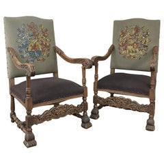Pair 19th Century Louis XIII Armchairs with Embroidery