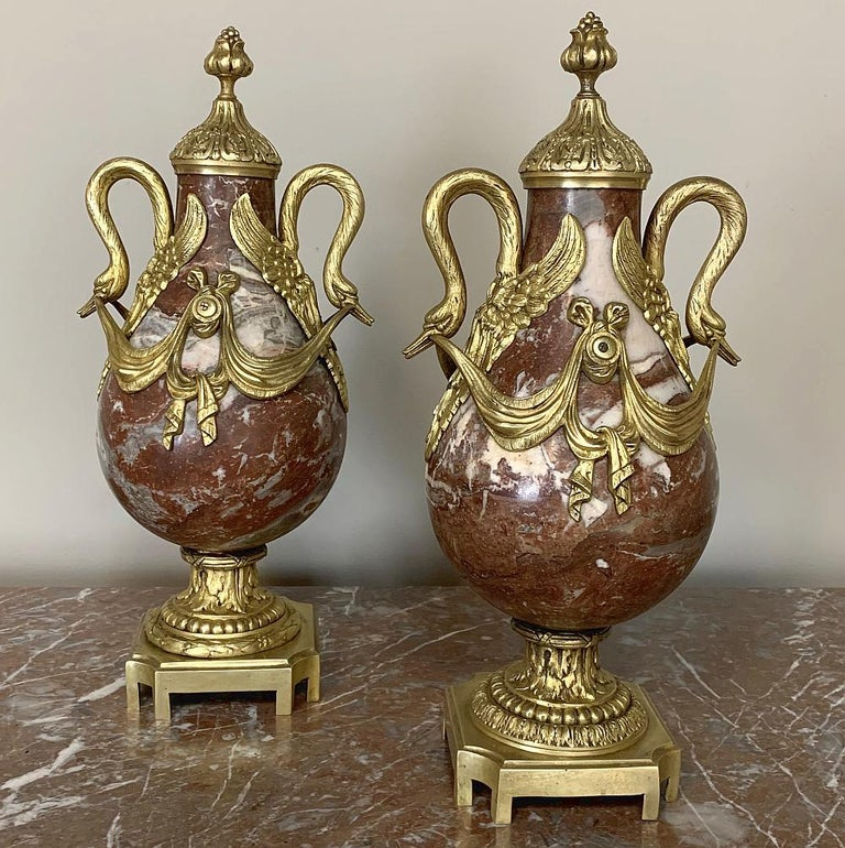 Pair of 19th Century Marble and Bronze Cassolettes For Sale 5