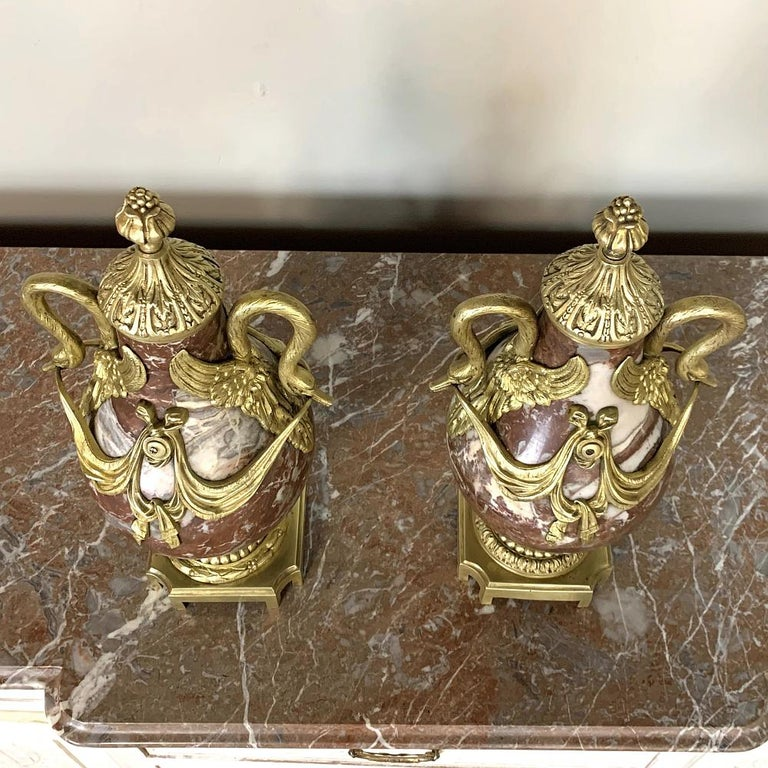 Pair of 19th Century Marble and Bronze Cassolettes For Sale 6