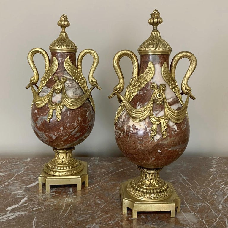 French Pair of 19th Century Marble and Bronze Cassolettes For Sale