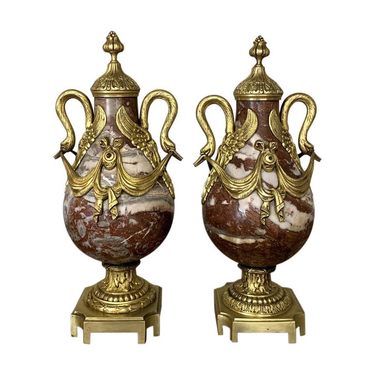 Pair of 19th Century Marble and Bronze Cassolettes For Sale
