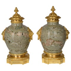 Pair 19th Century Marble Lidded Urns
