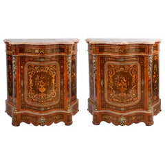 Pair of 19th Century Marquetry French Side Cabinets