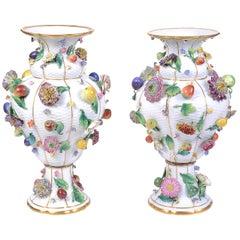 Pair of 19th Century Meissen Flower Encrusted Vases