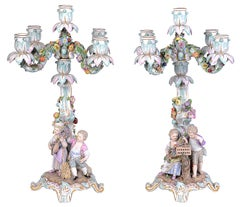 Pair of 19th Century Meissen Porcelain Candelabra