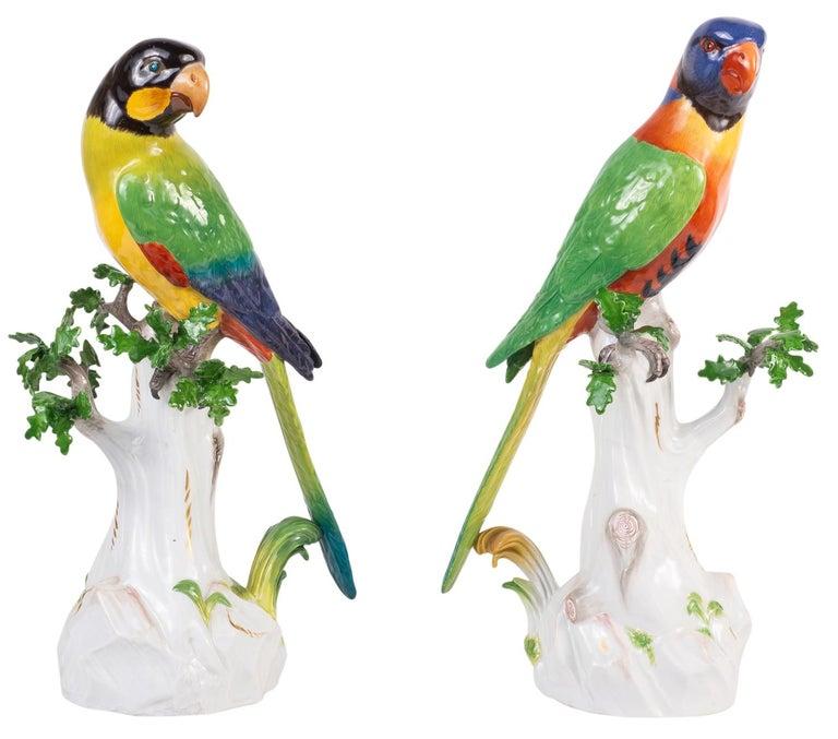 German Pair of 19th Century Meissen Porcelain Parrots For Sale