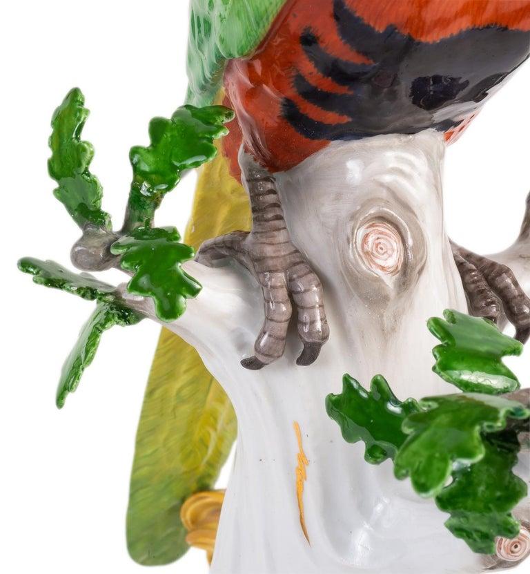 Pair of 19th Century Meissen Porcelain Parrots For Sale 4