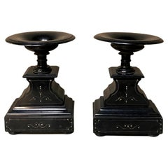 Pair 19th Century Napoleon III Period Engraved Black Marble Stands ~ Cassolettes