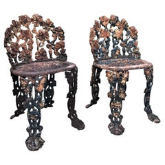 Pair of Napoleon III Side Hand made Garden Chairs Furniture Cast Iron Antique LA