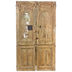 Pair of 19th Century Neoclassical Stripped Oak French Doors