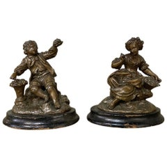 Pair of 19th Century Petite Spelter Statues, Bookends