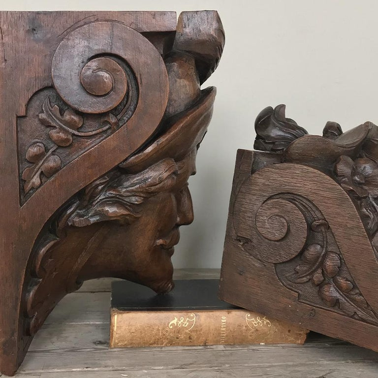 Pair of 19th Century Renaissance Wall Sconces, Corbels For Sale 6