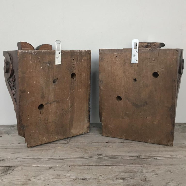Pair of 19th Century Renaissance Wall Sconces, Corbels For Sale 7