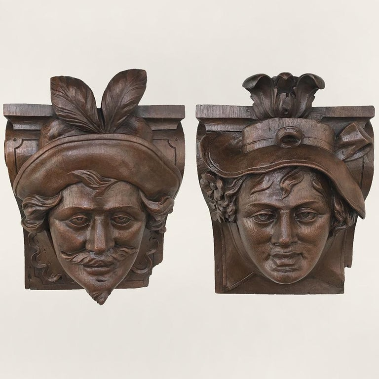Hand-Carved Pair of 19th Century Renaissance Wall Sconces, Corbels For Sale