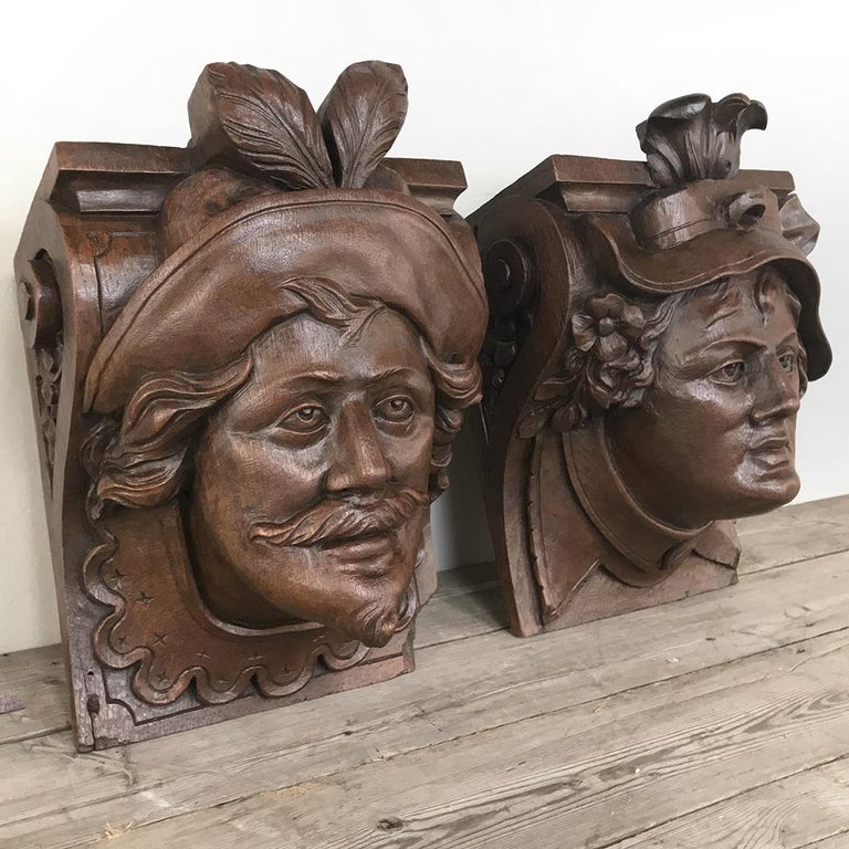 Pair of 19th Century Renaissance Wall Sconces, Corbels In Good Condition For Sale In Dallas, TX