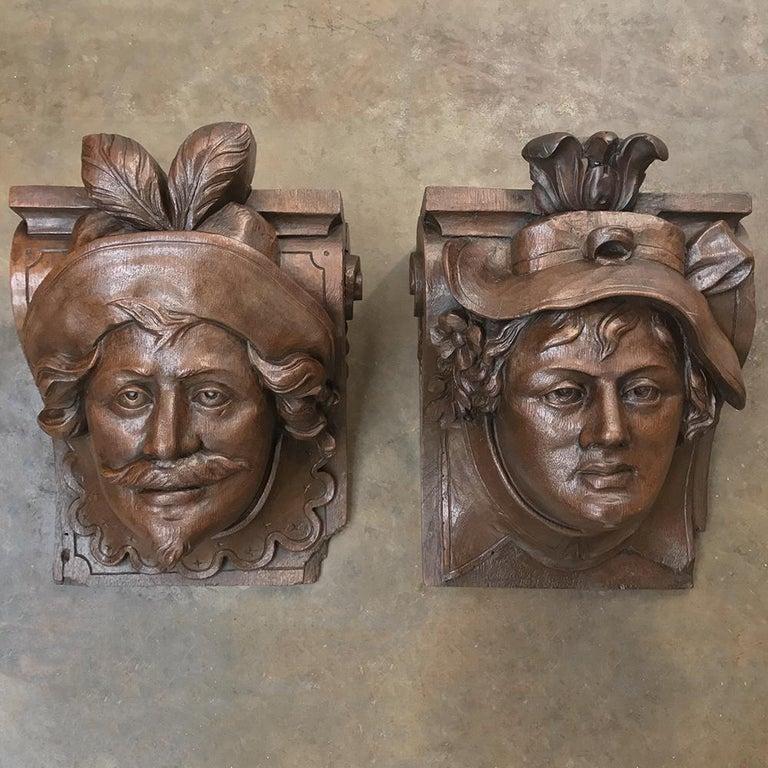 Oak Pair of 19th Century Renaissance Wall Sconces, Corbels For Sale
