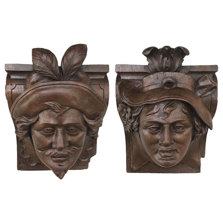 Pair of 19th Century Renaissance Wall Sconces, Corbels For Sale