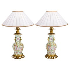Pair of 19th Century Rose Medallion Ormolu Mounted Vases / Lamps
