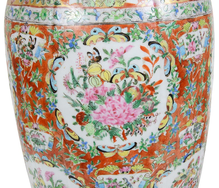 Chinese Export Pair of 19th Century Rose Medallion Vases / Lamps For Sale