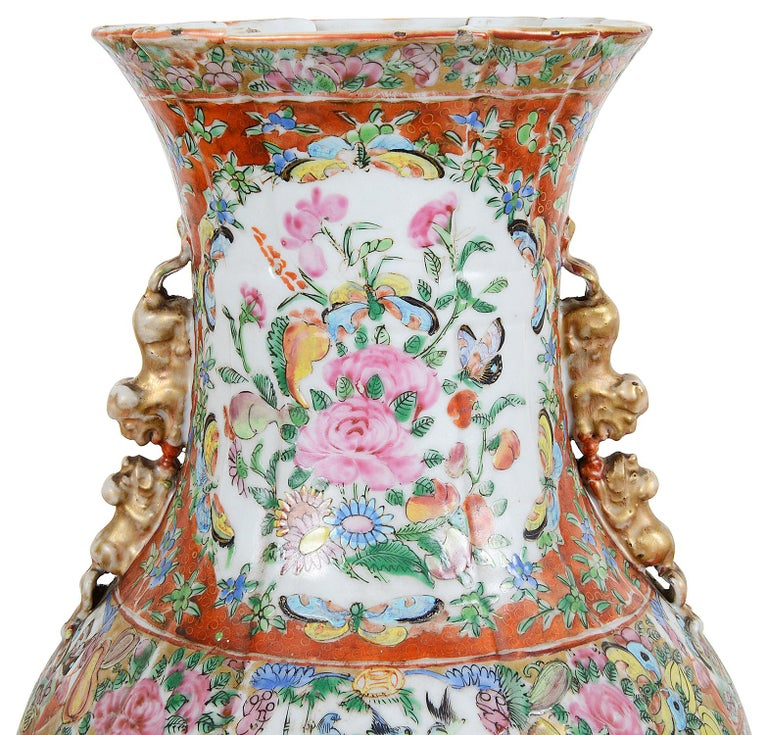 Chinese Pair of 19th Century Rose Medallion Vases / Lamps For Sale