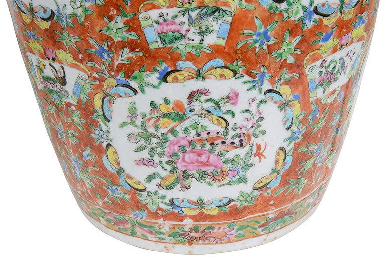 Porcelain Pair of 19th Century Rose Medallion Vases / Lamps For Sale