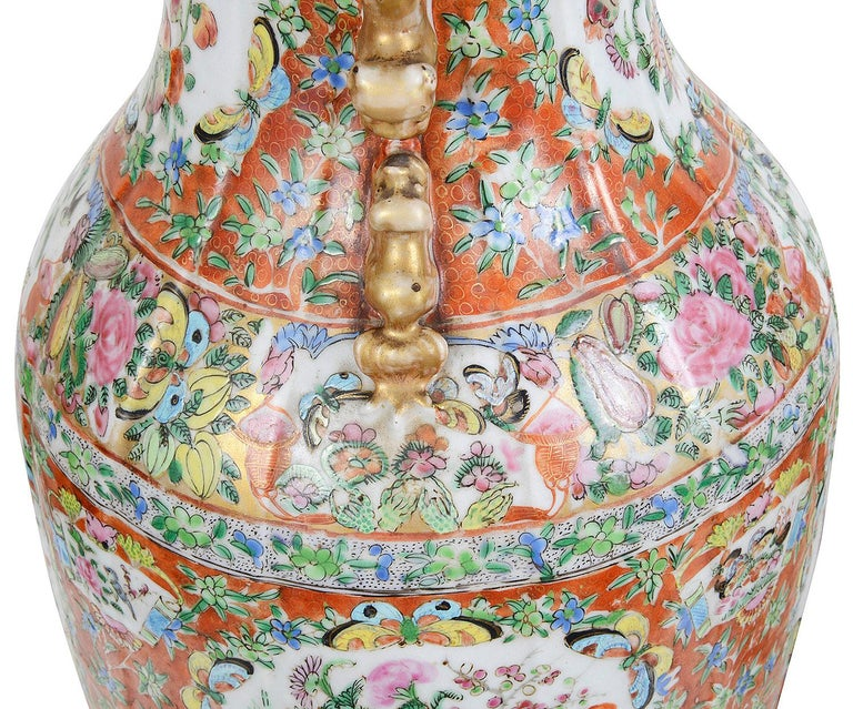 Pair of 19th Century Rose Medallion Vases / Lamps For Sale 1