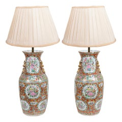 Pair of 19th Century Rose Medallion Vases / Lamps