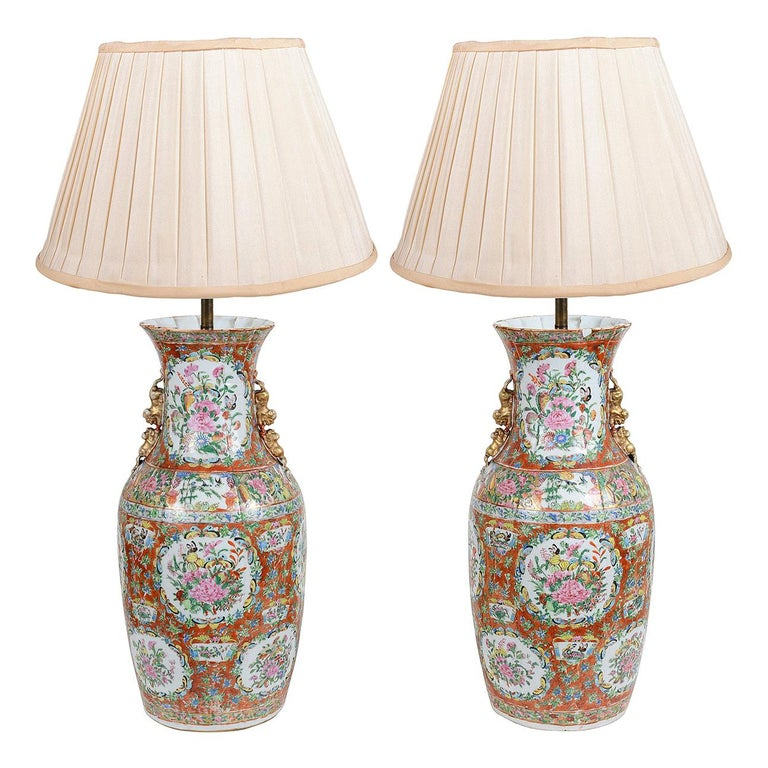 Pair of 19th Century Rose Medallion Vases / Lamps For Sale