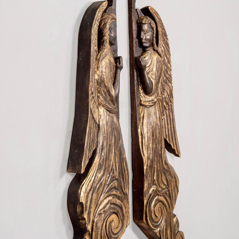 Folk Art Pair of 19th Century Scottish Chip Carved Angels with Gilt Detail For Sale