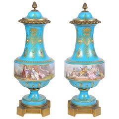 Pair of 19th Century Sevres Style Lidded Vases