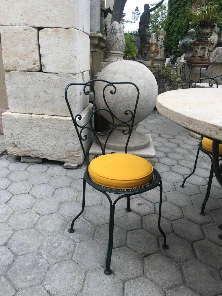 A beautiful 19th century pair of small side garden patio iron metal chairs with old paint. you find similar style in provence the south of France. Antiques dealer Los Angeles CA West Hollywood la cienega Melrose Ave Beverly Hills. This pair would be