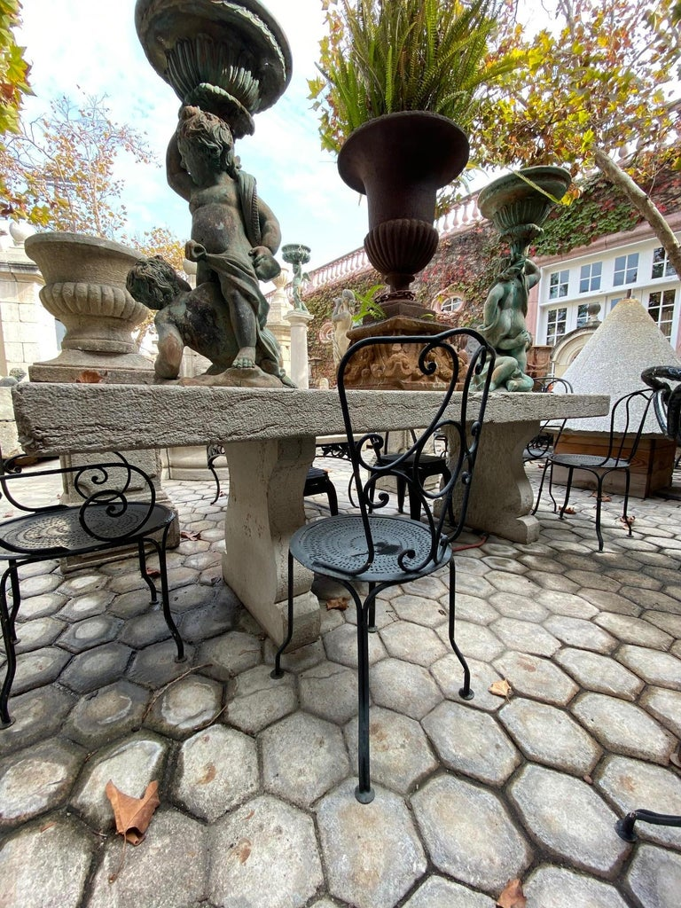 European Pair of 19th Century Side Handmade Garden Table Chairs Furniture Iron Antique LA For Sale