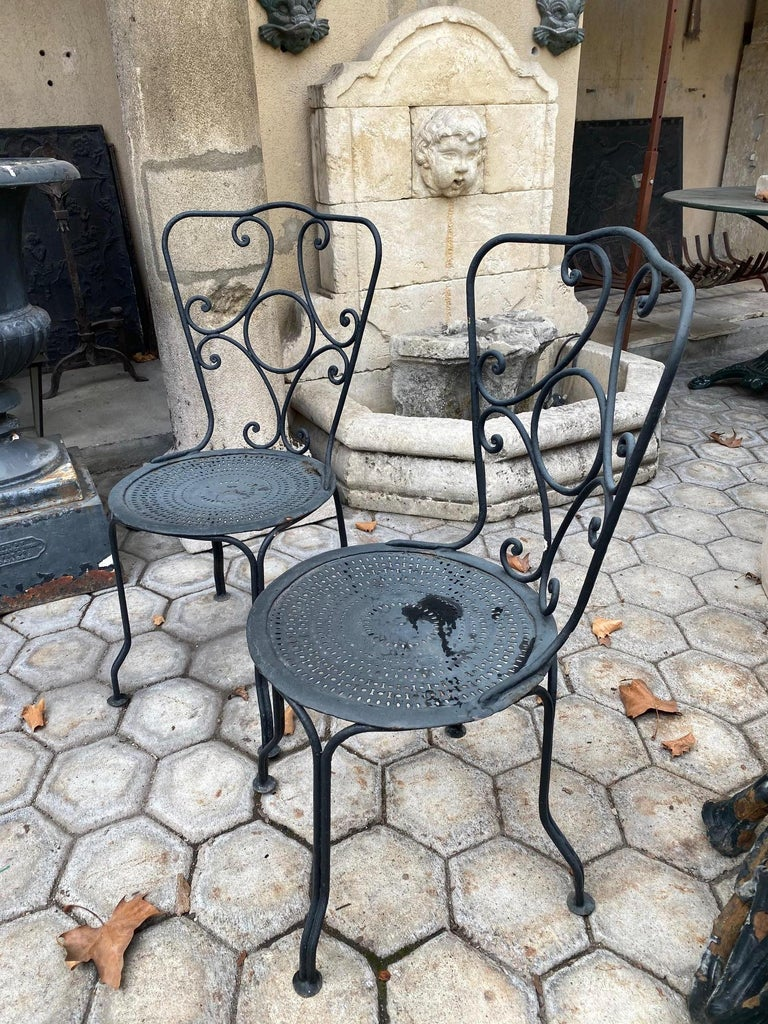 Pair of 19th Century Side Handmade Garden Table Chairs Furniture Iron Antique LA In Good Condition For Sale In West Hollywood, CA