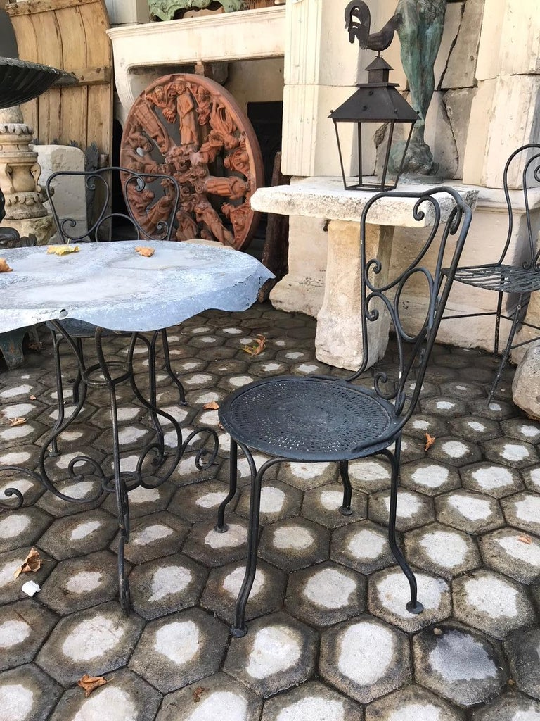 Pair of 19th Century Side Handmade Garden Table Chairs Furniture Iron Antique LA For Sale 2