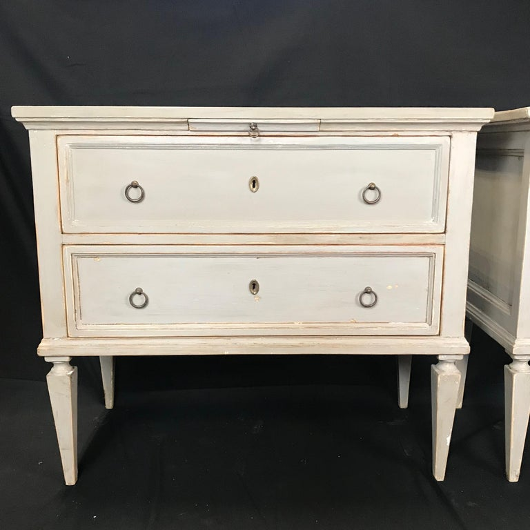 Pair 19th Century Swedish Gustavian Painted Wood Chests on Tapered Legs For Sale 6
