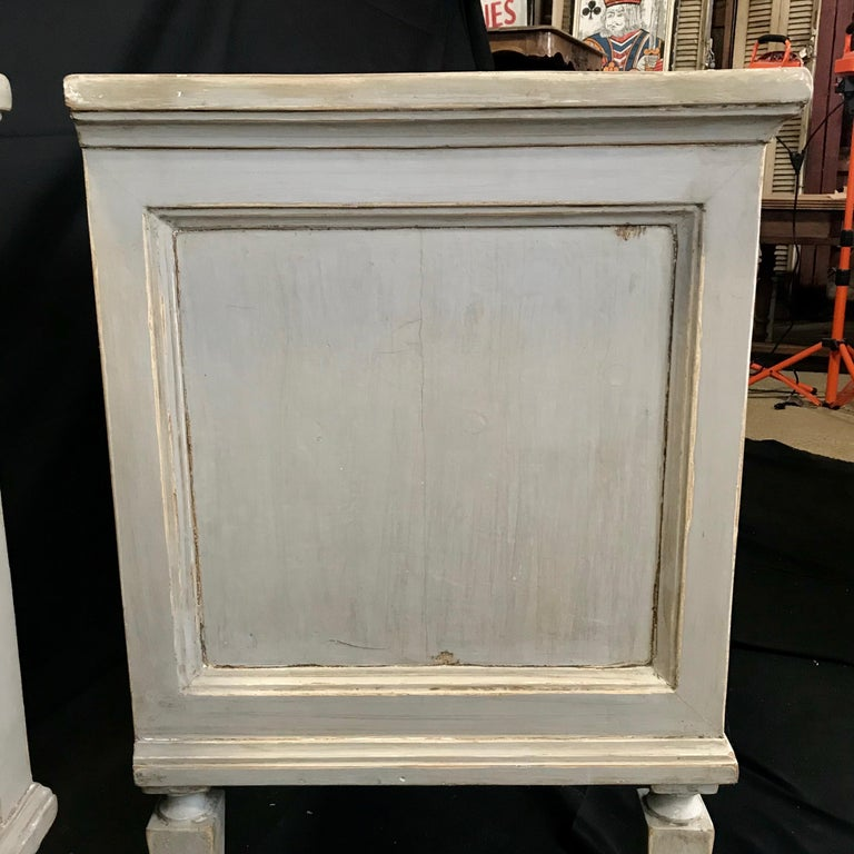 Pair 19th Century Swedish Gustavian Painted Wood Chests on Tapered Legs For Sale 7