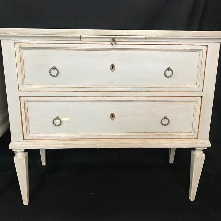 Pair 19th Century Swedish Gustavian Painted Wood Chests on Tapered Legs For Sale 8