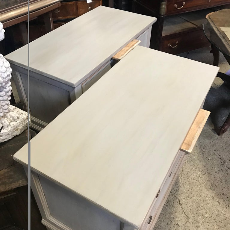 Pair 19th Century Swedish Gustavian Painted Wood Chests on Tapered Legs For Sale 9