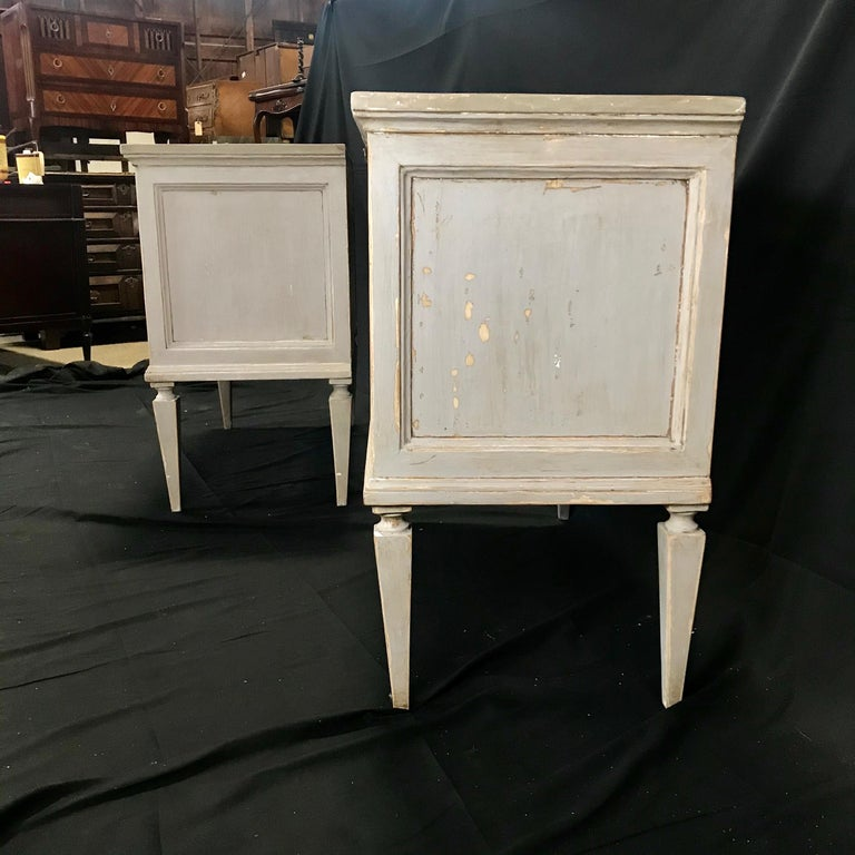 Pair 19th Century Swedish Gustavian Painted Wood Chests on Tapered Legs For Sale 10