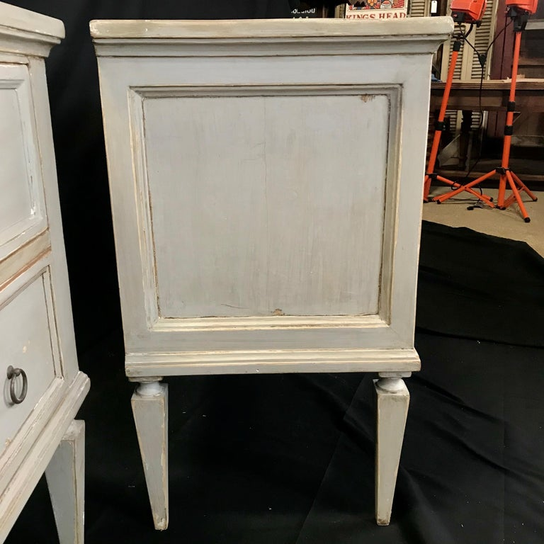 Pair 19th Century Swedish Gustavian Painted Wood Chests on Tapered Legs For Sale 11