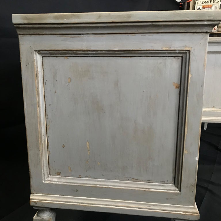Pair 19th Century Swedish Gustavian Painted Wood Chests on Tapered Legs For Sale 13
