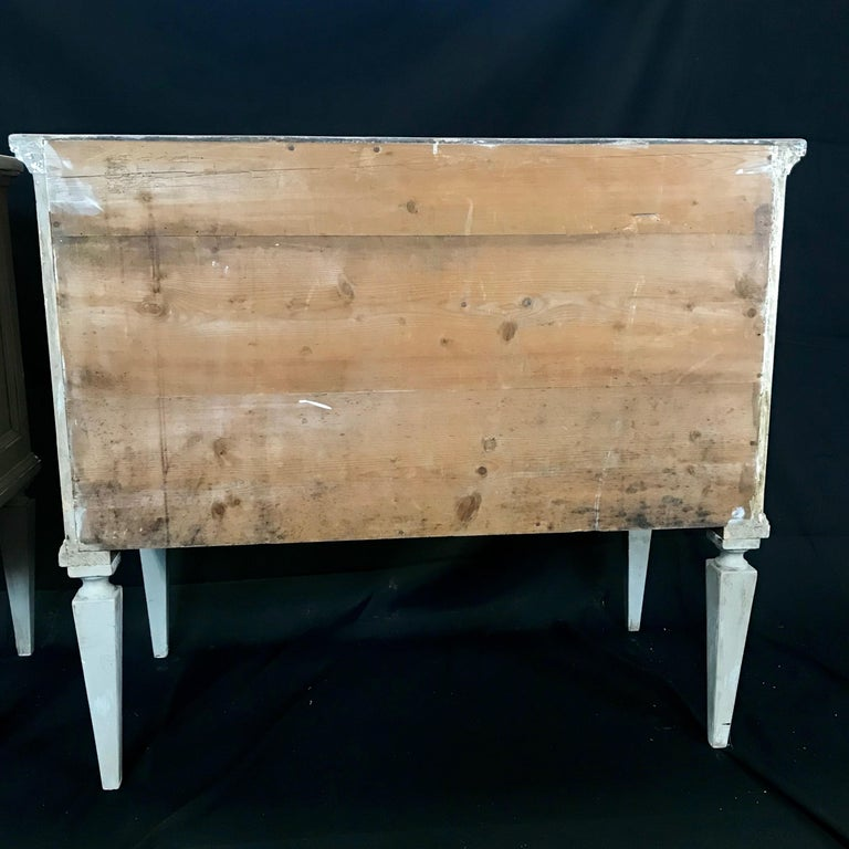 Pair 19th Century Swedish Gustavian Painted Wood Chests on Tapered Legs For Sale 14