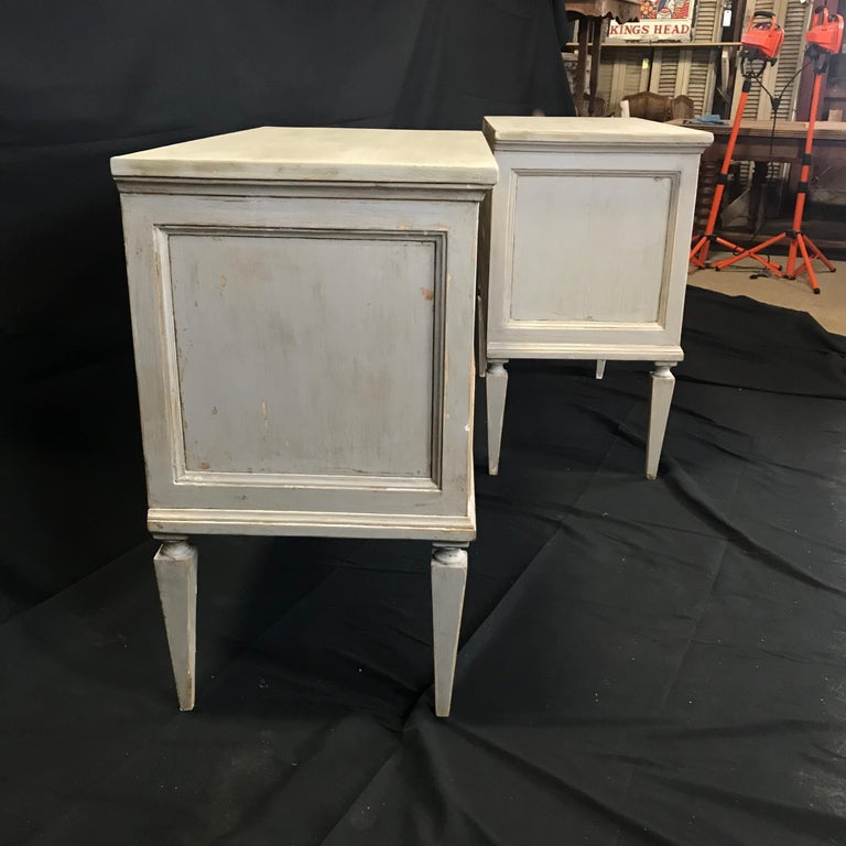 Pair 19th Century Swedish Gustavian Painted Wood Chests on Tapered Legs For Sale 15