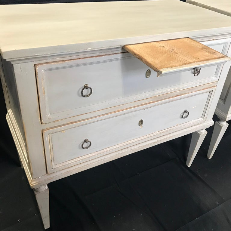 Pair 19th Century Swedish Gustavian Painted Wood Chests on Tapered Legs For Sale 1