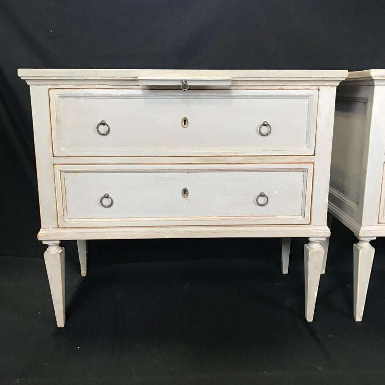 Pair 19th Century Swedish Gustavian Painted Wood Chests on Tapered Legs For Sale 2