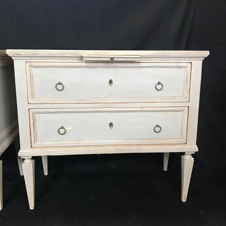 Pair 19th Century Swedish Gustavian Painted Wood Chests on Tapered Legs For Sale 3
