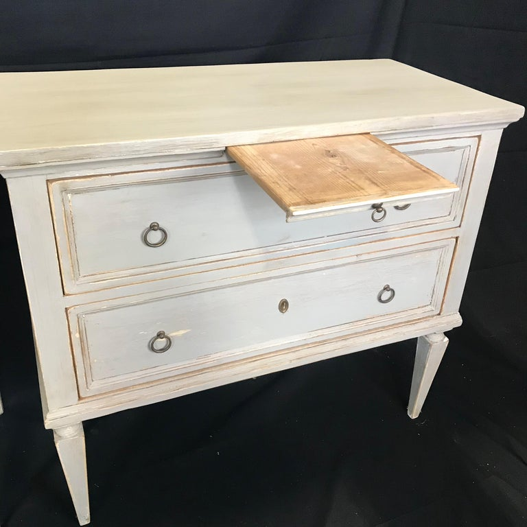 Pair 19th Century Swedish Gustavian Painted Wood Chests on Tapered Legs For Sale 4